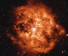 Astronomy Picture of the Day for 01 Jul 2014. Some stars explode in slow motion. Rare, massive Wolf-Rayet stars are so tumultuous and hot that they slowly disintegrating right before our telescopes. Glowing gas globs each typically over 30 times more massive than the Earth are being expelled by violent stellar winds. Wolf-Rayet star WR 124, visible near the above image center spanning six light years across, is thus creating the surrounding nebula known as M1-67.
