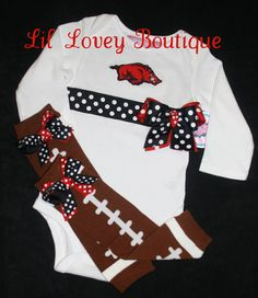Football Season Is Coming...Team Spirit Long Sleeve Bodysuit With Matching Football Leg Warmers For Baby Girl or Toddler