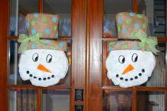 holiday, doors, burlap wreaths, burlap door hangers, tutorials, crafti stuff, craft idea, snowman, christma