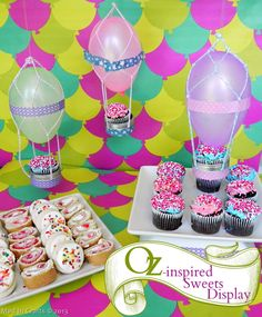 Oz the Great and Powerful Sweets Display party decoration ideas, dessert tables, sweet tables, birthday parties, cupcake party, balloon decorations, kid birthdays, hot air balloons, diy party decorations