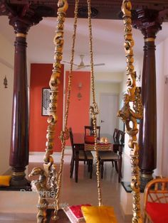 traditional indian decor-swing and pillars