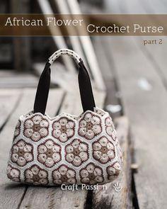 African Flower Crochet Purse - Part 2