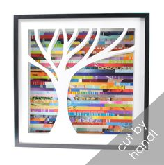 Create this tree shadowbox with recycled magazine pieces (and maybe foam core?)