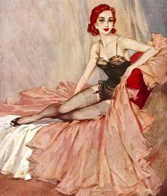 """There is a gentle litheness to British artists David Wright's work that was not usually seen in the pinups created by his American peers."" #vintage #pinup #girl #art  #redhead"