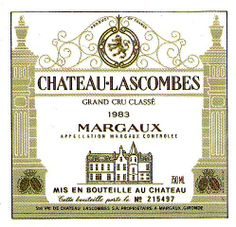 Chateau Lascombes Margaux 1983 French Wine Label
