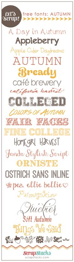 Let's Scrap! Free Autumn Fonts  ~~ {21 free fonts w/ easy download links}