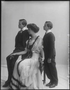 Consuelo Vanderbilt, Duchess of Marlborough with her sons John Albert William Spencer-Churchill, Marquess of Blanford (later 10th Duke of Marlborough) and Lord Ivor Charles Spencer-Churchill. Photographed by Rita Martin.