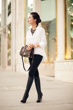 soft white, boot, statement necklaces, style, white shirts, outfit, black white, back to basics, christian louboutin