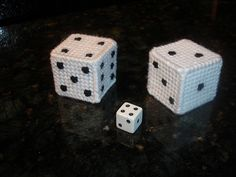 Why didn't I ever think of this!?  Plastic canvas dice. So clever! dice, plastic canvas, canva craft, plasticcanva, canva idea, canvases