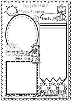 Second Grade Week 3: Informational Writing Pumpkin Themed for First and Second Grade Common Core aligned$. The teacher can read a story then have the students use this worksheet to tell the main idea, the facts, and write a summary of the story.