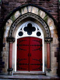 red doors, canada door, gothic door, church door