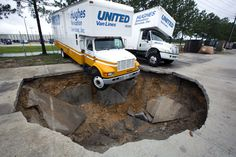 Competition between Moving companies over who can create the largest sinkhole