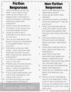 Reading Response Questions for fiction/non-fiction respons question, reading response questions, respons idea, read respons, fourth grade reading ideas, fourth grade homework