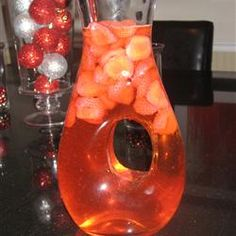 """Strawberry Champagne Punch ~ """"A simple carbonated punch with champagne, ginger ale and frozen strawberries."""""""
