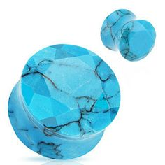 Synthetic Turquoise Faceted Stone Plugs