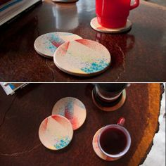 Spruce up that old coffee table with this #abstract leather coaster #DIY!