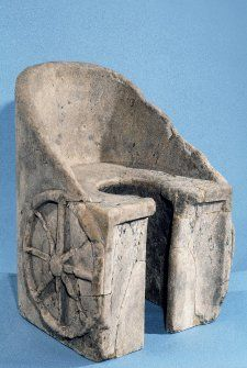 A latrine from the Baths of Caracalla in Rome, 100-300, shaped like a chariot.