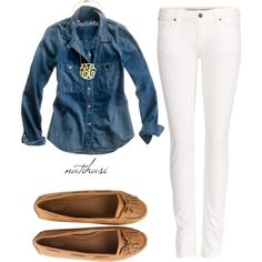 Must have basics: chambray shirt , white skinnies, nude flats