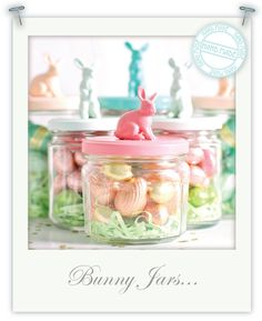 Bunnies on jars - adorable
