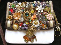 Daphne Vintage Jewelry Embellished Ladies by ArtCreationsByCJ, $95.00 jewelri mosaic, handbags, jewelri idea, jewelri creation, jewelri embellish, broken jewelri, handcraft beauti, jewelri art, vintag purs