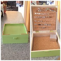 My dorm room craft :) Took a plain box  turned it into an earring holder/box. Spray paint it, glue on studs,  glue cork board on the inside of the box.