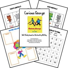 Curious George Free Unit Study Lessons and Lapbook Printables