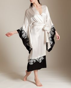 Carine Gilson: Sonia Bi-Color Long Kimono Decoupes at Nancy Meyer