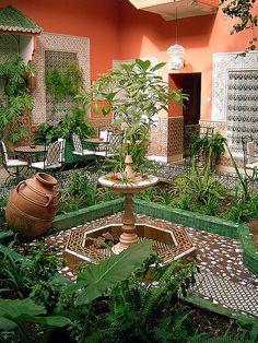 Interior courtyard and garden in a Moroccan home.