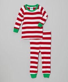 Red & Green Stripe Pajama Set - Infant, Toddler & Kids by Cat & Cow #zulily #zulilyfinds