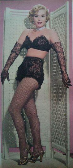 Zsa Zsa Gabor- c.1953, vintage black lace lingerie
