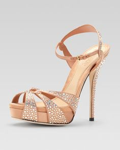 Crystal-Covered Strappy Sandal by Gucci at Neiman Marcus.