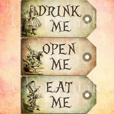 Alice In Wonderland Printable Crafts | set of 3 printable tags embellished with alice in wonderland ...