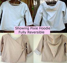 NEW Childrens Hoodie Jacket PDF Sewing Pattern tutorial ebook email kimono reversible coat $6.95