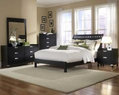 Top 25 Contemporary Style Bedroom Design Ideas : Tan Painted Wall Contemporary Style Bedroom with Black Painted Furniture and Wooden Floor