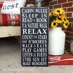 Cabin Rules Vintage Style Typography Word Art Sign via Etsy
