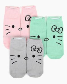 #HelloKitty pack of 3 Ped socks in scrumptious colors!