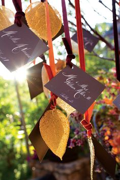 Leaf escort cards ~ Karlisch and Wrubel Photography