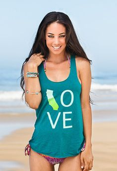 "Green Love Cali tank. Take 15% off with the code ""cali"" GO http://californialimited.com/collections/california-limited-collection/products/california-love-green"
