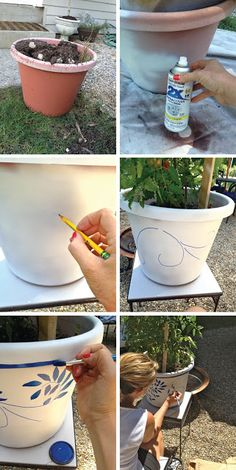 Easy Blue and white Patio pots- Garden/ Patio Makeover Reveal