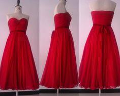 Tea-length bridesmaid dress