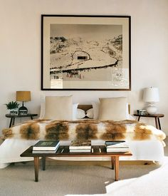 andreas gursky, mountain, beds, furs, ski chalet, aerin lauder, master bedrooms, ski house, homes