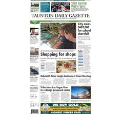 The front page of the Taunton Daily Gazette for Monday, July 28, 2014.