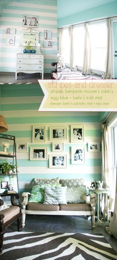 """Can't get enough Robin's Egg Blue. love the stripes-so doing that in """"my"""" house..."""