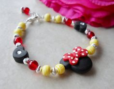 Minnie Bracelet Red and Yellow with Polka Dots