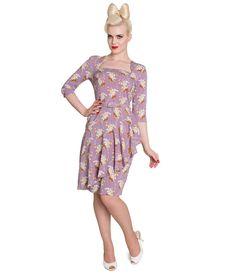 #1940s Style Purple Floral Faux Wrap Dress #uniquevintage