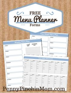 Free Menu Plan and Shopping List Forms