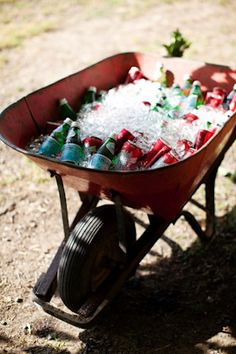 Cute for a country potluck.... Wheelbarrow 'O Drinks. This would be cute with mason jar mixed drinks!