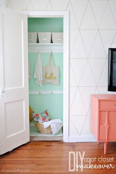 diy home decor, wall patterns, coat closet, closet makeovers, color, pattern design, mint, wall treatments, paint