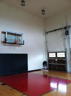 Basketball room on pinterest indoor basketball court for Basketball hoop inside garage