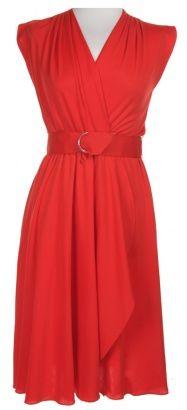 Studio 54 cherry red draped disco dress.